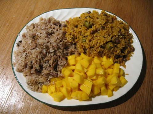 Rice and mangoes